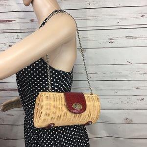 Handbags - Straw Cylinder Shoulder Bag Purse